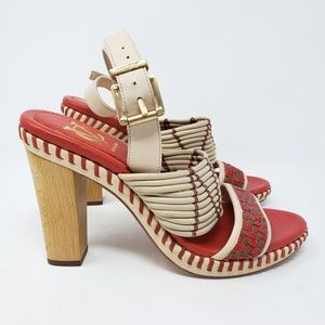 VC red tan sandals with wood heels 9.5